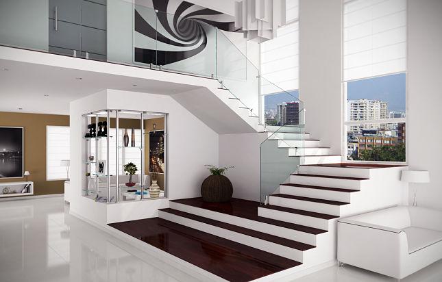 Barandas para escalera en cristal templado de calidad - Baranda de escalera ...