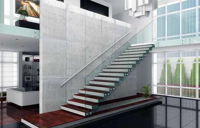 Barandas para escalera en cristal templado de calidad shawer tradem style - Barandas para escaleras ...
